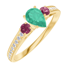 Ring Create 162246 Yellow gold 9 carats - Emerald Pear 0.3 Carats - Ring settings Ruby - Setting Diamond white