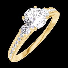 Ring Create 162426 Gelbgold 375/-(9Kt) - Diamant Rund 0.5 Karat - Seitliche Steine Diamant - Fassung Diamant