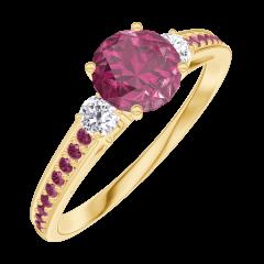Ring Create 163029 Geelgoud 18 karaat - Robijn Rond 0.5 Karaat - Aanleunende edelstenen Diamant - Setting Robijn
