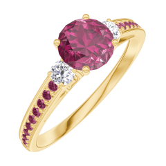 Ring Create 163029 Gelbgold 750/-(18Kt) - Rubin Rund 0.5 Karat - Seitliche Steine Diamant - Fassung Rubin
