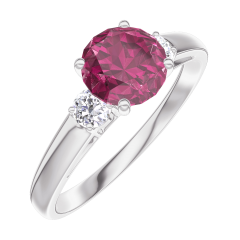 Ring Create 165424 White gold 9 carats - Ruby Round 0.7 Carats - Ring settings Diamond white