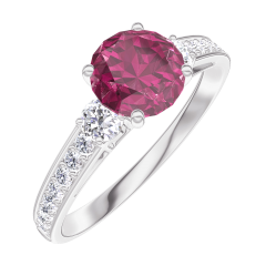 Ring Create 165428 White gold 9 carats - Ruby Round 0.7 Carats - Ring settings Diamond white - Setting Diamond white