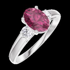 Ring Create 165724 Weißgold 375/-(9Kt) - Rubin Oval 0.7 Karat - Seitliche Steine Diamant