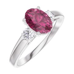 Ring Create 165724 Witgoud 9 karaat - Robijn Ovaal 0.7 Karaat - Aanleunende edelstenen Diamant