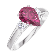 Ring Create 165824 White gold 9 carats - Ruby Pear 0.7 Carats - Ring settings Diamond white