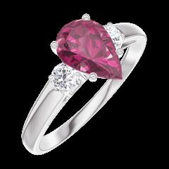 Ring Create 165824 Witgoud 9 karaat - Robijn Peer 0.7 Karaat - Aanleunende edelstenen Diamant
