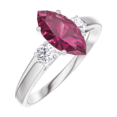 Ring Create 165924 White gold 9 carats - Ruby Marquise 0.7 Carats - Ring settings Diamond white