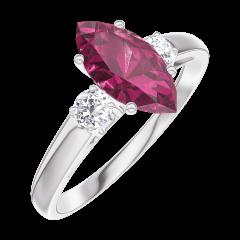 Ring Create 165924 Witgoud 9 karaat - Robijn Markies 0.7 Karaat - Aanleunende edelstenen Diamant