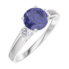Ring Create 166024 White gold 9 carats - Blue Sapphire round 0.7 Carats - Ring settings Diamond white