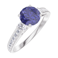 Ring Create 166028 White gold 9 carats - Blue Sapphire round 0.7 Carats - Ring settings Diamond white - Setting Diamond white