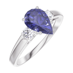 Ring Create 166424 White gold 9 carats - Blue Sapphire Pear 0.7 Carats - Ring settings Diamond white
