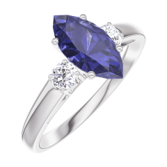 Ring Create 166524 White gold 9 carats - Blue Sapphire Marquise 0.7 Carats - Ring settings Diamond white