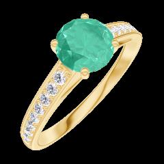 Ring Create 166606 Gelbgold 375/-(9Kt) - Smaragd Rund 0.7 Karat - Fassung Diamant
