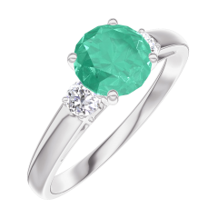 Ring Create 166624 White gold 9 carats - Emerald Round 0.7 Carats - Ring settings Diamond white