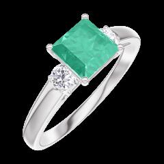 Ring Create 166724 White gold 9 carats - Emerald Princess 0.7 Carats - Ring settings Diamond white
