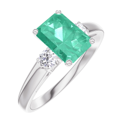 Ring Create 166824 White gold 9 carats - Emerald Baguette 0.7 Carats - Ring settings Diamond white