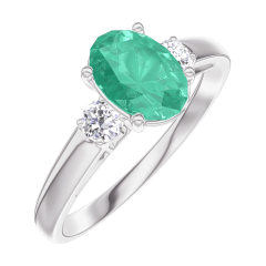 Ring Create 166924 White gold 9 carats - Emerald Oval 0.7 Carats - Ring settings Diamond white