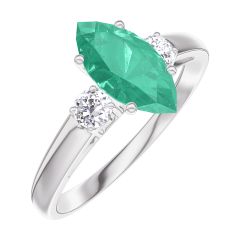 Ring Create 167124 White gold 9 carats - Emerald Marquise 0.7 Carats - Ring settings Diamond white