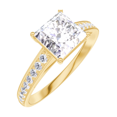 Ring Create 167305 Geelgoud 18 karaat - Diamant Prinses 1 Karaat - Setting Diamant