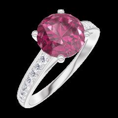 Ring Create 167808 White gold 9 carats - Ruby Round 1 Carats - Setting Diamond white