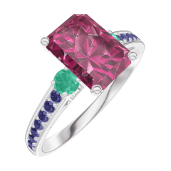 Ring Create 168096 White gold 9 carats - Ruby Baguette 1 Carats - Ring settings Emerald - Setting Blue Sapphire