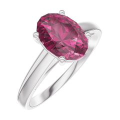 Ring Create 168104 White gold 9 carats - Ruby Oval 1 Carats