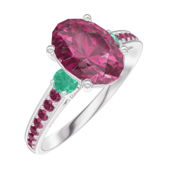 Ring Create 168192 White gold 9 carats - Ruby Oval 1 Carats - Ring settings Emerald - Setting Ruby