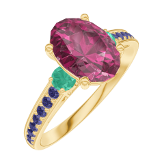 Ring Create 168194 Yellow gold 9 carats - Ruby Oval 1 Carats - Ring settings Emerald - Setting Blue Sapphire