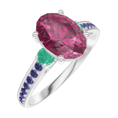 Ring Create 168196 White gold 9 carats - Ruby Oval 1 Carats - Ring settings Emerald - Setting Blue Sapphire