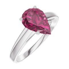 Ring Create 168204 White gold 9 carats - Ruby Pear 1 Carats