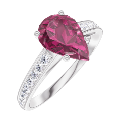 Ring Create 168208 White gold 9 carats - Ruby Pear 1 Carats - Setting Diamond white