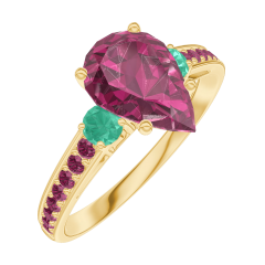 Ring Create 168290 Yellow gold 9 carats - Ruby Pear 1 Carats - Ring settings Emerald - Setting Ruby