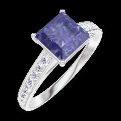 Ring Create 168508 White gold 9 carats - Blue Sapphire Princess 1 Carats - Setting Diamond white