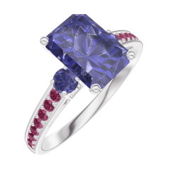 Ring Create 168672 White gold 9 carats - Blue Sapphire Baguette 1 Carats - Ring settings Blue Sapphire - Setting Ruby