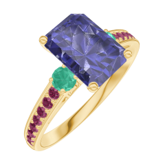 Ring Create 168690 Yellow gold 9 carats - Blue Sapphire Baguette 1 Carats - Ring settings Emerald - Setting Ruby