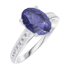 Ring Create 168707 Witgoud 18 karaat - Blauwe saffier Ovaal 1 Karaat - Setting Diamant
