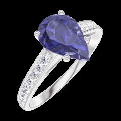 Ring Create 168808 White gold 9 carats - Blue Sapphire Pear 1 Carats - Setting Diamond white