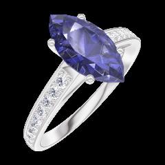 Ring Create 168908 Witgoud 9 karaat - Blauwe saffier Markies 1 Karaat - Setting Diamant