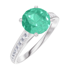 Ring Create 169008 White gold 9 carats - Emerald Round 1 Carats - Setting Diamond white