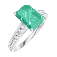 Ring Create 169208 Witgoud 9 karaat - Smaragd Rechthoekig 1 Karaat - Setting Diamant