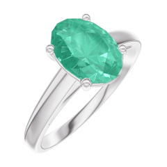 Ring Create 169304 White gold 9 carats - Emerald Oval 1 Carats