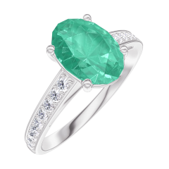 Ring Create 169308 White gold 9 carats - Emerald Oval 1 Carats - Setting Diamond white
