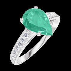 Ring Create 169408 White gold 9 carats - Emerald Pear 1 Carats - Setting Diamond white
