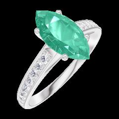 Ring Create 169508 White gold 9 carats - Emerald Marquise 1 Carats - Setting Diamond white