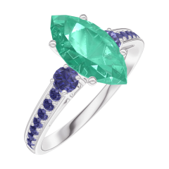 Ring Create 169576 White gold 9 carats - Emerald Marquise 1 Carats - Ring settings Blue Sapphire - Setting Blue Sapphire