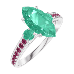 Ring Create 169592 White gold 9 carats - Emerald Marquise 1 Carats - Ring settings Emerald - Setting Ruby