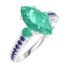 Ring Create 169596 White gold 9 carats - Emerald Marquise 1 Carats - Ring settings Emerald - Setting Blue Sapphire