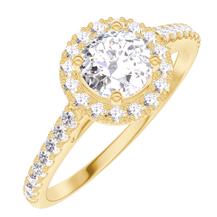 Ring Create 170005 Gelbgold 750/-(18Kt) - Diamant Rund 0.5 Karat - Halo Diamant - Fassung Diamant