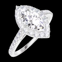 Ring Create 170247 Weißgold 750/-(18Kt) - Diamant Marquise 0.5 Karat - Halo Diamant - Fassung Diamant