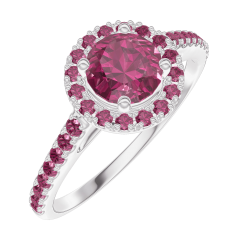 Ring Create 170316 White gold 9 carats - Ruby round 0.5 Carats - Halo Ruby - Setting Ruby